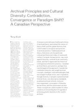 Archival Principles and Cultural Diversity: Contradiction, Convergence or Paradigm Shift? A Canadian Perspective