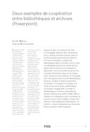 Deux exemples de coopération entre bibliothèques et archives (Powerpoint)