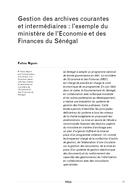 Gestion des archives courantes et intermédiaires: l'exemple du ministère de l'Economie et des Finances du Sénégal