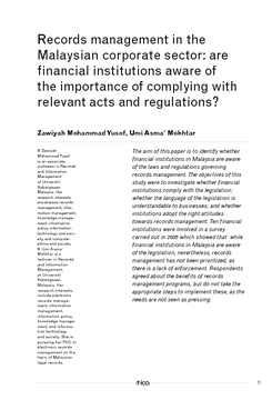 Records management in the Malaysian corporate sector: are financial institutions aware of the importance of complying with relevant acts and regulations?