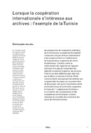 Lorsque la coopération internationale s'intéresse aux archives: l'exemple de la Tunisie