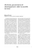Archives, gouvernance et développement: bâtir la société du futur