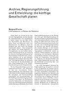 Archive, Regierungsführung und Entwicklung: die künftige Gesellschaft planen