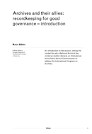 Archives and their allies: recordkeeping for good governance - introduction