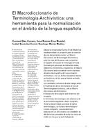 El Macrodiccionario de Terminología Archivística: una herramienta para la normalización en el ámbito de la lengua española