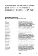Une nouvelle norme internationale pour décrire les fonctions des producteurs d'archives : ICA-ISDF