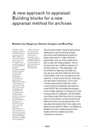 A new approach to appraisal: Building blocks for a new appraisal method for archives