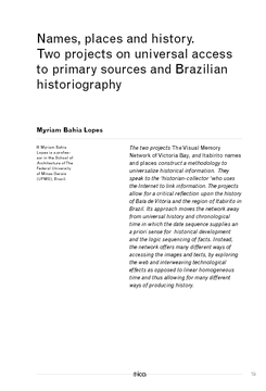 Names, places and history. Two projects on universal access to primary sources and Brazilian historiography