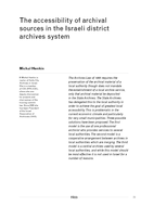 The accessibility of archival sources in the Israeli district archives system