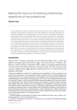 Making the most out of mentoring relationships: experiences of new professionals