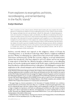 From explorers to evangelists: archivists, recordkeeping, and remembering in the Pacific Islands