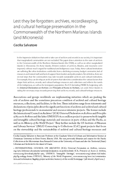 Lest they be forgotten: archives, recordkeeping, and cultural heritage preservation in the Commonwealth of the Northern Marianas Islands (and Micronesia)