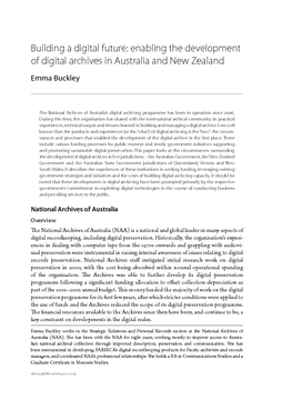 Building a digital future: enabling the development of digital archives in Australia and New Zealand