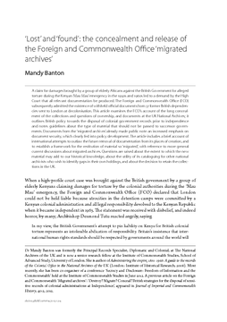 'Lost' and 'found': the concealment and release of the Foreign and Commonwealth Office 'migrated archives'