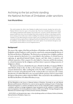 Archiving to the last archivist standing: the National Archives of Zimbabwe under sanctions