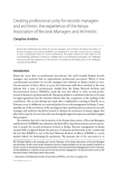 Creating professional unity for records managers and archivists: the experience of the Kenya Association of Records Managers and Archivists