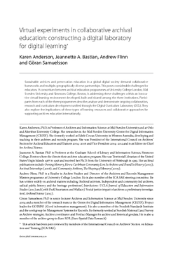 Virtual experiments in collaborative archival education: constructing a digital laboratory for digital learning