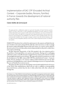 Implementation of EAC-CPF (Encoded Archival Context - Corporate bodies, Persons, Families) in France: towards the development of national authority files