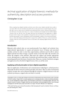 Archival application of digital forensics methods for authenticity, description and access provision