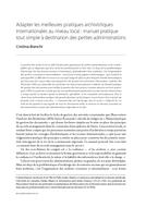 Adapter les meilleures pratiques archivistiques internationales au niveau local: manuel pratique tout simple à destination des petites administrations