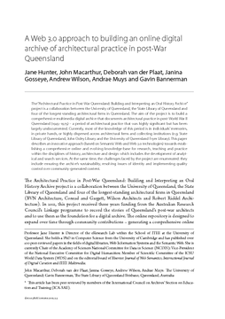A Web 3.0 approach to building an online digital archive of architectural practice in post-War Queensland