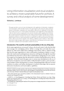 Using information visualization and visual analytics to achieve a more sustainable future for archives: A survey and critical analysis of some developments