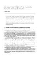 Le réseau relationnel des archives municipales françaises, l'exemple de Marseille