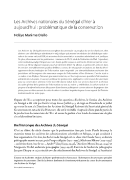 Les Archives nationales du Sénégal d'hier à aujourd'hui: problématique de la conservation