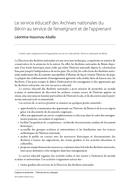Le service éducatif des Archives nationales du Bénin au service de l'enseignant et de l'apprenant
