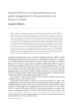 General reflections on improved access and public engagement in the past, present and future in Canada