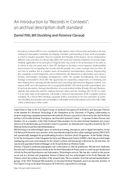 """An introduction to """"Records in Contexts"""": an archival description draft standard"""
