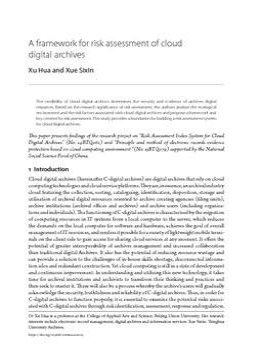 A framework for risk assessment of cloud digital archives