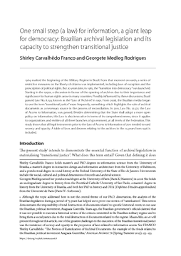 One small step (a law) for information, a giant leap for democracy: Brazilian archival legislation and its capacity to strengthen transitional justice