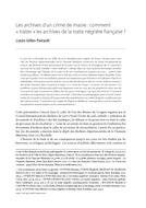 Les archives d'un crime de masse : comment « traiter » les archives de la traite négrière française ?