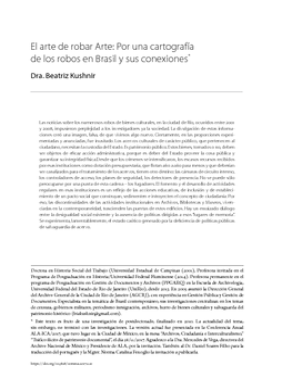 El arte de robar Arte: Por una cartografía de los robos en Brasil y sus conexiones*