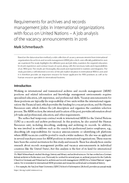 Requirements for archives and records management jobs in international organizations with focus on United Nations – A job analysis of the vacancy announcements in 2016