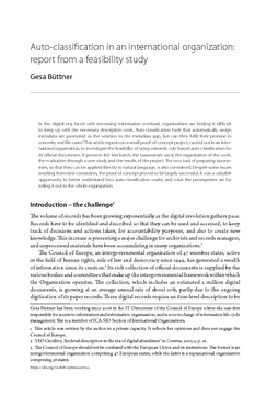 Auto-classification in an international organization: report from a feasibility study