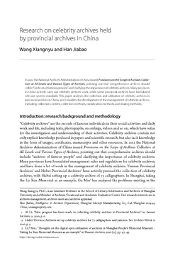 Research on celebrity archives held by provincial archives in China