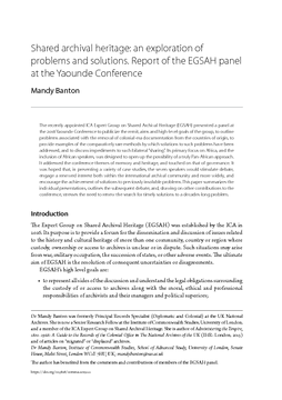 Shared archival heritage: an exploration of problems and solutions. Report of the EGSAH panel at the Yaounde Conference