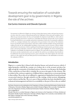 Towards ensuring the realization of sustainable development goal 16 by governments in Nigeria: the role of the archives