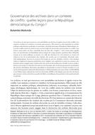Gouvernance des archives dans un contexte de conflits : quelles leçons pour la République démocratique du Congo ?