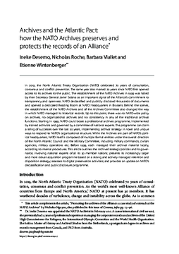Archives and the Atlantic Pact: how the NATO Archives preserves and protects the records of an Alliance*