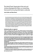 The World Trade Organization's Records and Archives Management Policy: an overarching framework for ensuring information continuity