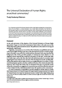 The Universal Declaration of Human Rights: an archival commentary*