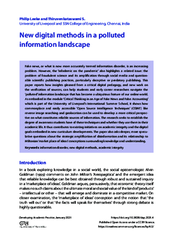 New digital methods in a polluted information landscape