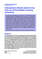 Undergraduate orthoptic students' views of the use of Virtual Reality in teaching and learning