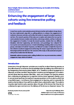 Enhancing the engagement of large cohorts using live interactive polling and feedback