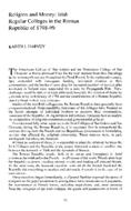 Religion and Money; Irish Regular Colleges in the Roman Republic of 1798-99