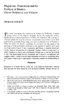 Plagiarism, Translation and the Problem of Identity: Oliver Goldsmith and Voltaire1
