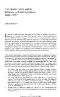 The Quaker Lobby and its Influence on Irish Legislation, 1692-1705*